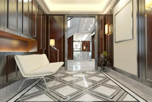 Modern designed Waiting Room / Lobby / Office Interior Scene. ( 3d render )